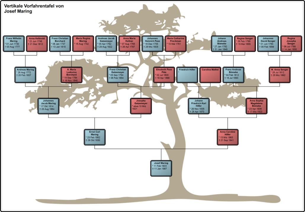 Wie sieht eine Vorfahrentafel aus?